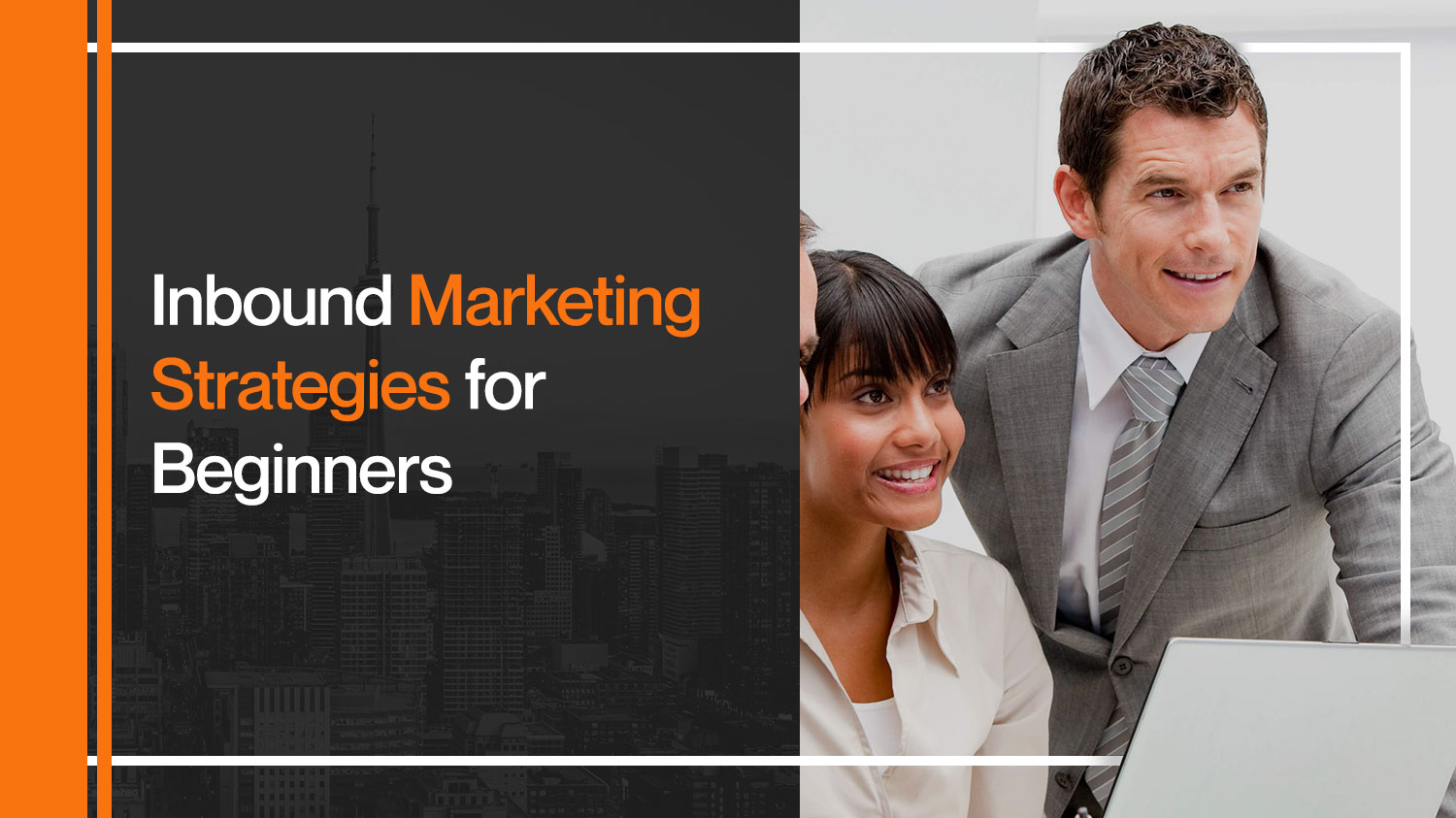 A man and a woman wear formal while learning inbound marketing